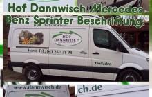 Hof Dannwisch Transporter Beschriftung. Diverse Digitaldrucke versehen mit Flüssiglaminat und Diverse Folien Plott Schriften.